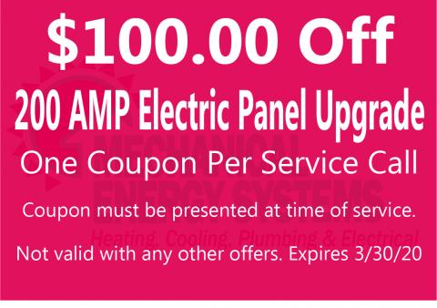 $100.00 Off 200 AMP Electric Panel Upgrade