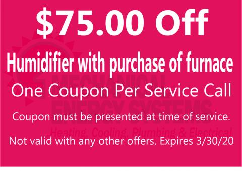 $75.00 Off humidifier purchase