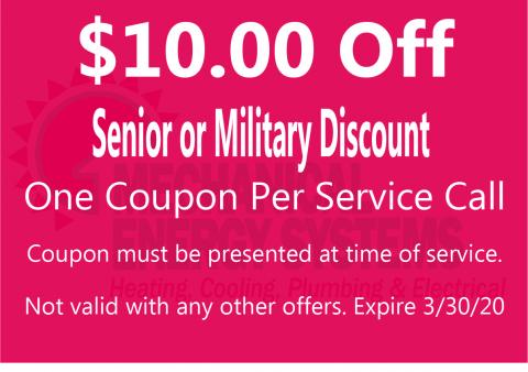 $10.00 Off with Senior or Military Discount
